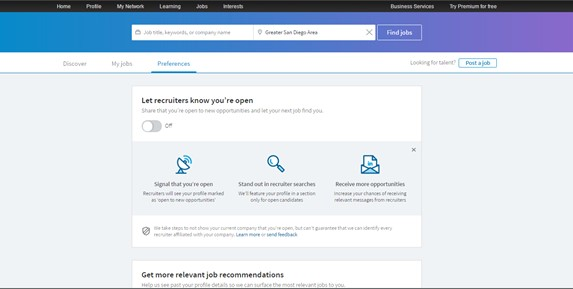 LinkedIn Open Candidate Screenshot